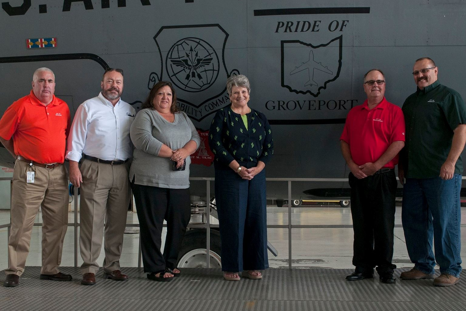 Unveiling ceremony of the dedication of a KC135 Stratotanker designated as the {Pride of Groveport}