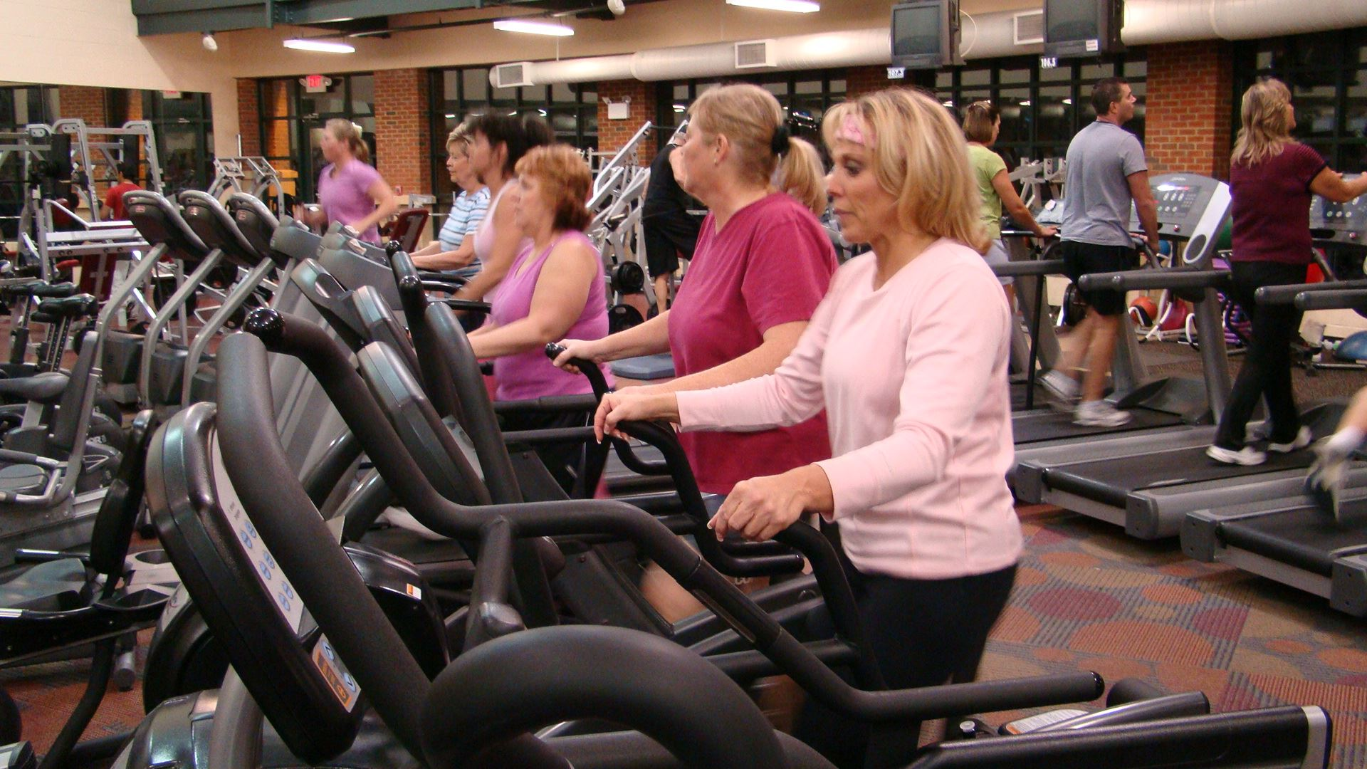 Women using the exercise equipment at the Groveport Recreation Center's fitness facility.