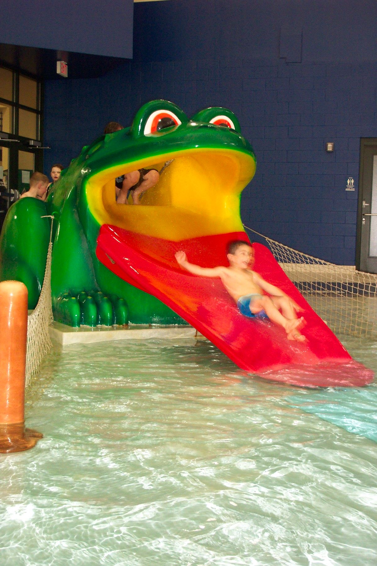 Children playing on a waterslide that looks like a frog.