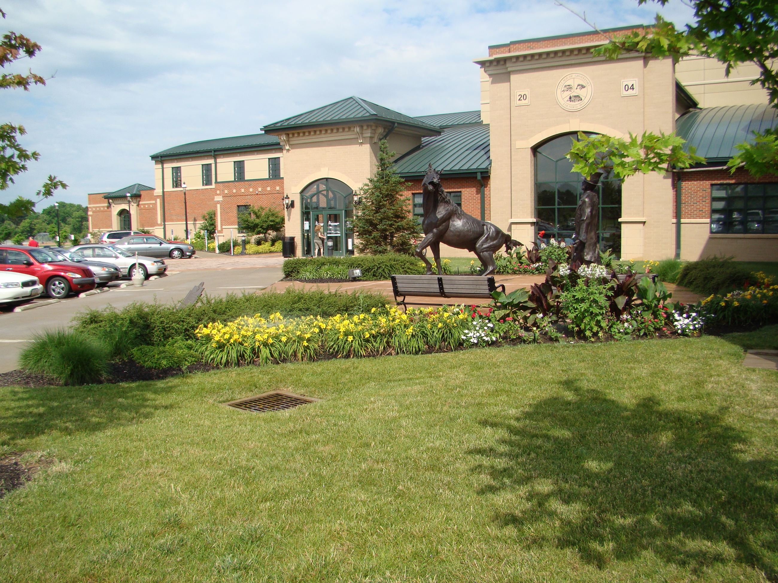 A view of the lawn and front of the Groveport Recreation Center.